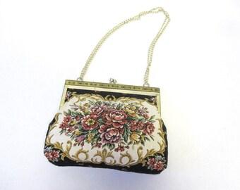 Vintage Handbag Tapestry Little Black Purse Roses Needlepoint