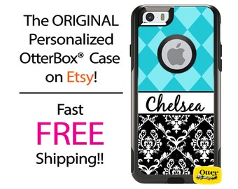 iPhone OtterBox Commuter Case for iPhone 7, 7 Plus, 6/6s, 6 Plus/6s Plus, 5/5s/SE, 5c Galaxy S7 S6 S5 Note 5 Monogrammed Argyle Damask Case