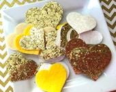 Wool Felt hearts grab bag - glitter fabric hearts - yellow glitter fabric hearts - yellow felt hearts - gold glitter hearts