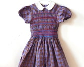 Vintage Girl's 1950s Hand-Smocked Cotton Plaid Dress Beautiful Smocking