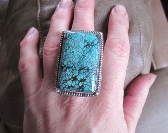 Huge Rectangular Turquoise Ring