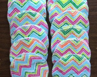 Nursing pads/Facial Wipes 12 sets (24 total) made with 4 layers of 100% cottlon flannel multi colored Chevron pattern