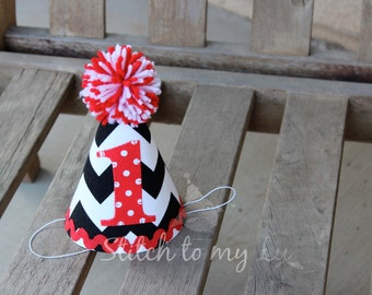 First Birthday HAT ONLY Black Chevron Red Polka Dots Mickey Mouse-Themed Red and Black 1st Birthday Toddler Boy or Girl