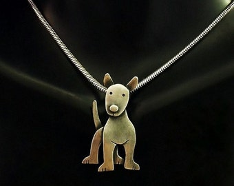 Sterling Silver Bull Terrier Necklace - Oscar