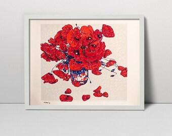 Red Poppies Vase Original Screen Print Hand Printed  Serigraph Art 50 x 60  silkscreen printing fine art painting screen print