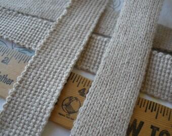 """Vintage Hemp woven webbing 1"""" linen natural color 25mm BTY by the yard belt strap tote bag handles yoga strap rocker boho"""