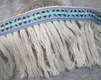 "Boho Tribal Ribbon Fringe trim 3.5"" wide cotton blend fringe Aqua blue green red white pattern ribbon retro yards yardage crafts costume"