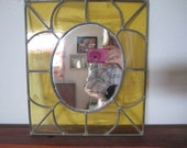 Vintage Stained Glass Mirror Yellow Wall Art