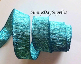 Sale, Christmas Teal, Turquoise Metallic Ribbon, Wired Teal, Aqua Ribbon, Christmas, 5 YARDS, 1.5 inches Wide, Wired Ribbon, Bow & Wreaths