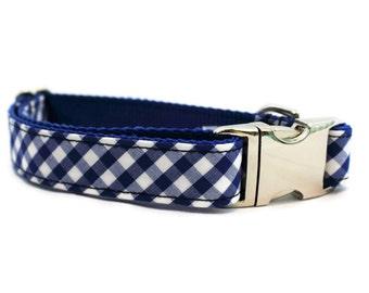 Blue Dog Collar   Blue Gingham Dog Collar with Metal Buckle  Gingham  Dog Collar   Boy Dog Collar   Girl Dog Collar   Male Dog Collar