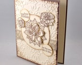 Wedding Greeting Card, Ivory, Taupe, Pearls, Flowers, Elegant, Congratulations, Best Wishes, Newlywed, Couple, Marriage, Love, Lace