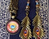 CLEARANCE SALE - Peacock Pendant and Fancy Earring Set (S531) Peacock Feather Art Under Glass Dome, Long Dangle Earrings, Swarovski Crystals