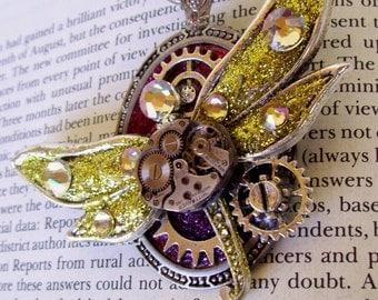 Steampunk Dragonfly Pin (P636), Brooch, Pocket Watch Frame, Vintage Movement Piece, Silver Hardware, Swarovski Crystals