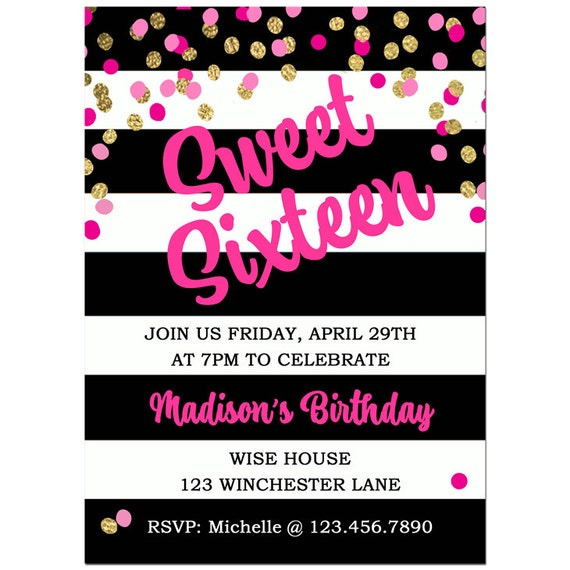 Canny image pertaining to sweet 16 birthday invitations free printable