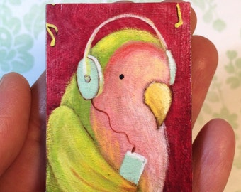 Rockin' Lovebird Magnet by Megumi Lemons