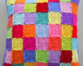 colorful granny square cushion cover / pillow cover