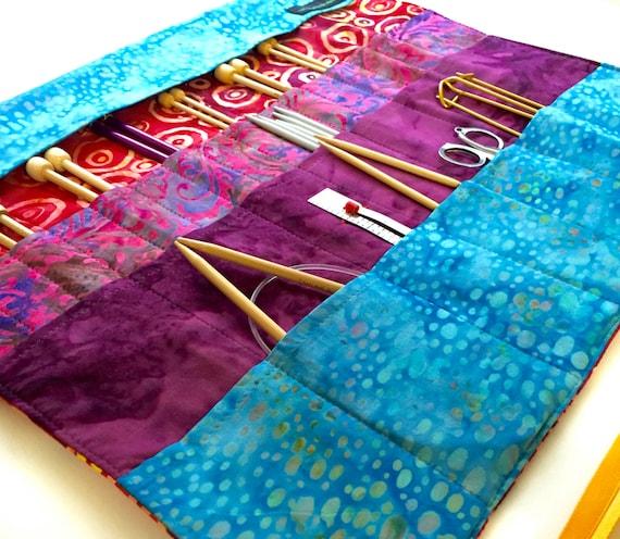 Knitting Needle Storage Roll : Large knitting needle case roll organizer in batik cotton