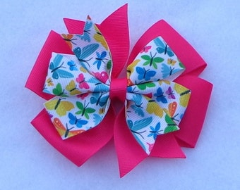"""Boutique Hair Bow~Large Boutique Hair Bow~Spring/Summer Hair Bow~Simple Hair Bow~Butterfly Hair Bow~4"""" Hair Bow~Large Pinwheel Bow"""