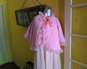 1960s Pink Bed Jacket / Retro Nightgown Jacket / Soft Pink Lighter Than Photos