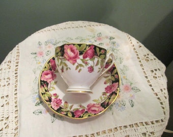 Queen Anne Teacup And Saucer / Black Magic Pattern Tea Cup / Gorgeous