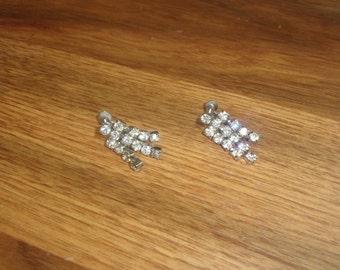 vintage screw back earrings silvertone rhinestones dangles