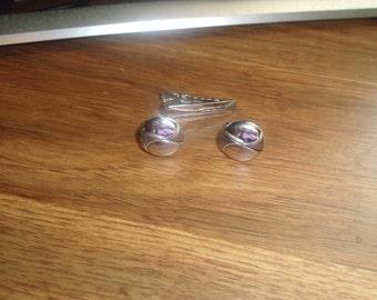 vintage cufflinks cuff links tie tac set silvertone