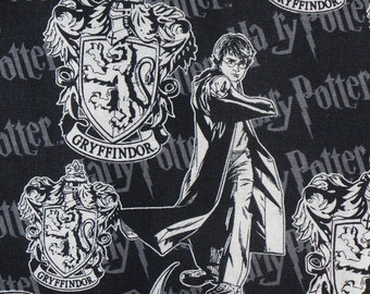 Harry Potter Fabric , Harry Potter,  Gryffindor  Fabric,  Hogwarts Emblem,  Gryffindor Crest, By the Yard