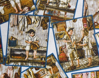 Baseball Fabric, Vintage Style, Play Ball, Collage Style, Childrens Baseball, Sepia Tones, Realistic Photos, By the Yard, Elizabeth Studio