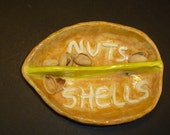 Larger Pistachio Nut Dish handmade in US from a lump of clay comes with yummy nuts!