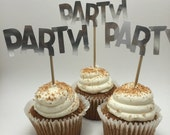 """Cute """"Party"""" font word   cupcake toppers  . Cupcake decor for princess party."""