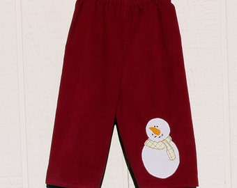 Cranberry Red Cotton Corduroy Pants with Snowman Applique Size 12 Months