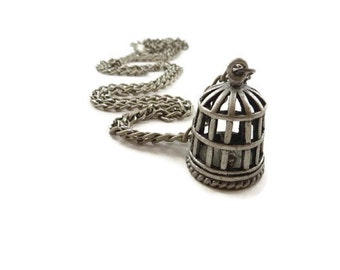 Bird Cage with Bird Pendant Necklace Antique Silver Toned Metal