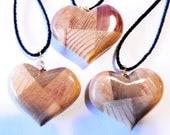 Wooden plaid heart ornaments - set of 3