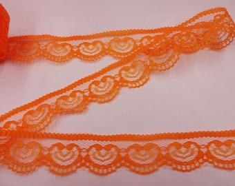 "Orange Heart Lace Trim-25mm-1""-3 YDS."