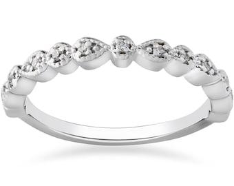 Stackable Diamond Ring, Diamond Wedding Ring 14k White Gold Womens White Gold Anniversary Wedding Band
