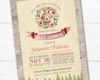 Fox Baby Shower Invitation, Fox Baby Shower, Printable, Woodland Baby Shower Invitation, Woodland Baby Shower Invite, Fox Baby Shower Invite