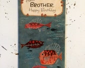 Vintage Happy Birthday Card for Brother Fishing Themed