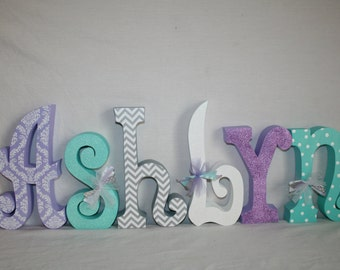 Custom wood letters, Nursery decor, 6 letter set, Purple and teal decor, Freestanding wood letters, Purple damask decor, Name sign