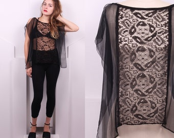 Vintage 1920's Silk Georgette and Lace Black Overlay • 20's Art Deco Sleeveless Silk Sheer Top • One-Size