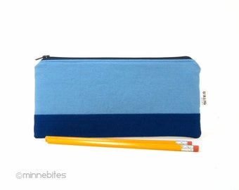 Men's Blue Pencil Case - Guys Two Tone Blue Pouch - Unisex Modern Pencil Bag - Desk Supplies - Organizer for Men - Guys Gift - Ready to Ship