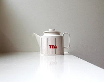 Mod Teapot TEA Retro Graphics Red Stripes Hornsea England Clappison 1980's
