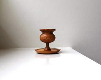 Scandinavian Modern Swedish Wooden Candle Holder Folk Art Rune Ericson