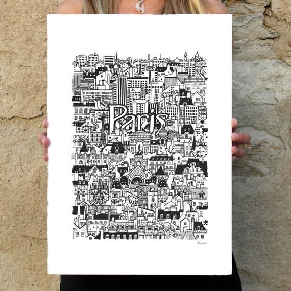 PARIS Hand-Illustrated Screenprint
