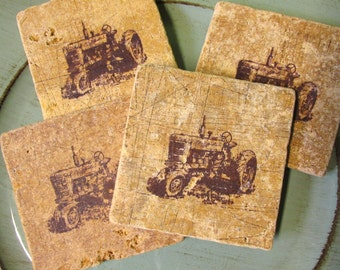 Natural stone coaster.  TRACTOR Coasters.  Set of Four Coasters. Gift