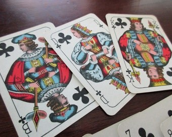 13 vintage Playing Cards - clubs, black, king, 1940s, 1950s