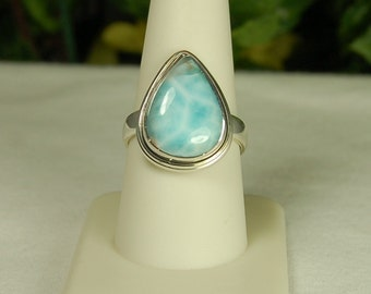 Larimar Ring, Size 9, Caribbean Blues, Pear Shape Larimar, Sterling Silver, Dominican Republic, Pectolite, Larimar Stone, Natural Larimar