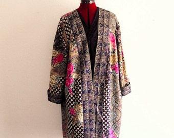 Sale Boho printed patchwork Kimono- Duster #KheGreen