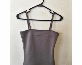 90s Gray Spandex Spaghetti Strap with Removable Straps