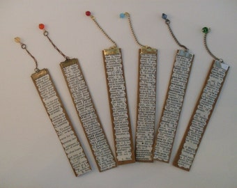 Six Trader Joe Bag Handles and Encyclopedia Pages Recycled Bookmarks