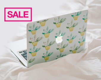 Cactus MacBook Decal - Patterned Watercolor Cactus Laptop Skin